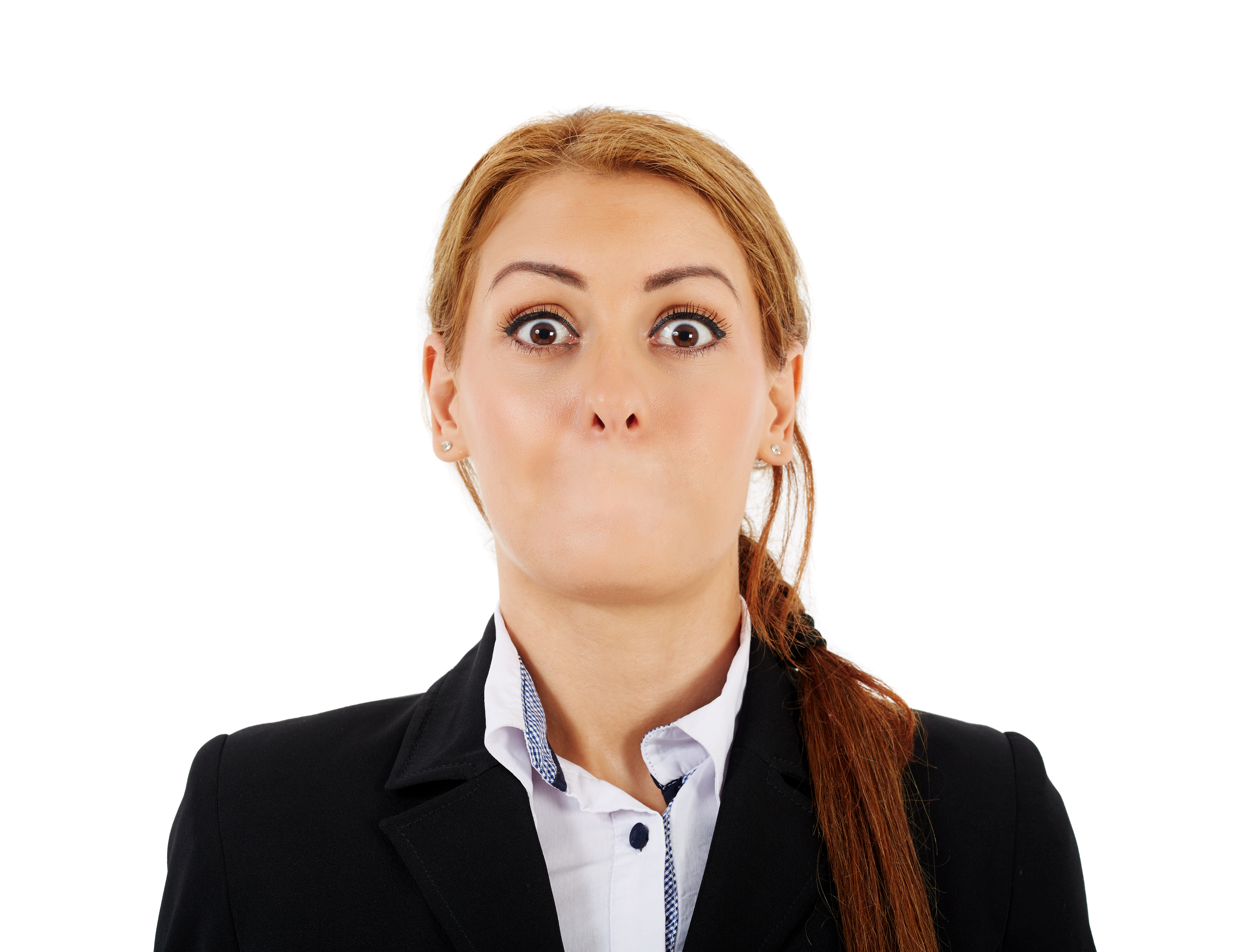 Female businesswoman without her mouth and with a shock expression